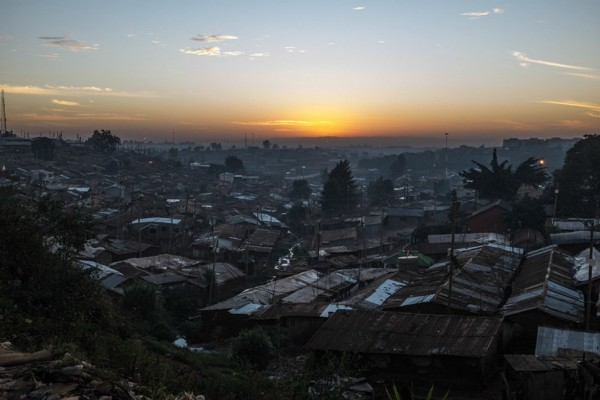 A view over Kibera, the biggest slum in Africa,